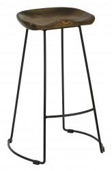 VEUVE HIGH STOOL SOLID ASH SEAT ANTIQUE STEEL FRAME BLACK