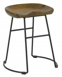 VEUVE LOW STOOL SOLID ASH SEAT ANTIQUE STEEL FRAME BLACK