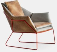 New York contract furniture lounge chair, metal frame side view