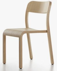 Contemporary chair / ash / lacquered wood / stained wood