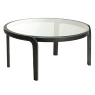Genea contract furniture table with wood frame and glass top close up front view