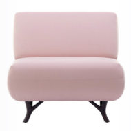 Pink Huddle contract furniture with tree branch legs