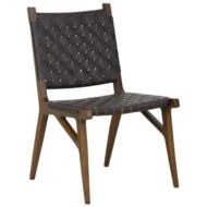 Kensington contract furniture side chair, wood frame and leather weave front view