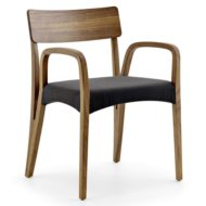 Moraar contract furniture armchair, wood frame with four legs