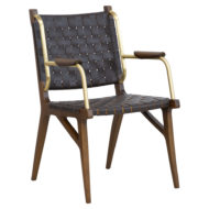 Kensington contract furniture armchair chair, wood frame and leather weave front view