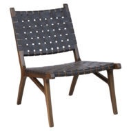 Kensington contract furniture lounge chair, wood frame and leather weave front view